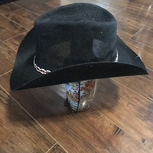 Black Cowboy Hat With Adjustable Cord NWT